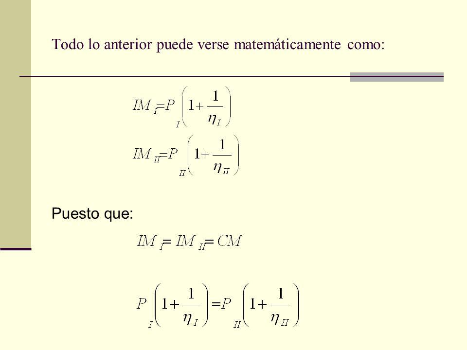 Todo lo anterior puede verse matemáticamente como: Puesto que: