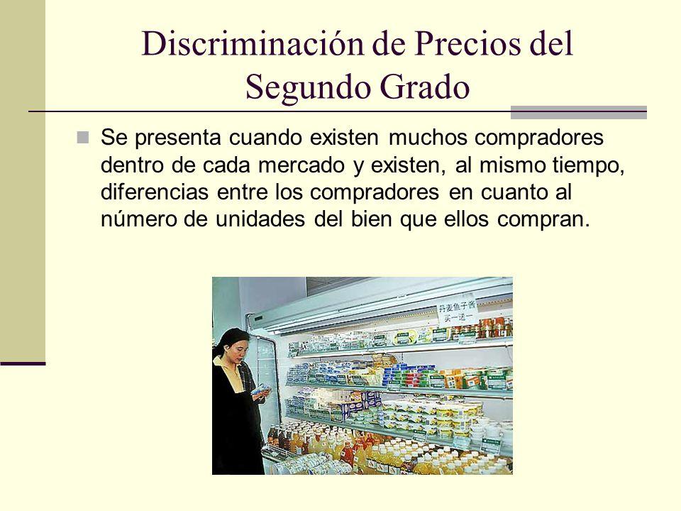 Discriminación de Precios del Segundo Grado Se presenta cuando existen muchos compradores dentro de cada mercado y existen, al mismo tiempo, diferenci
