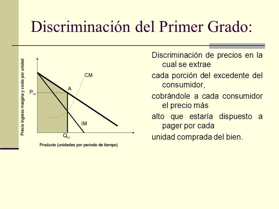 Discriminación del Primer Grado: Discriminación de precios en la cual se extrae cada porción del excedente del consumidor, cobrándole a cada consumido