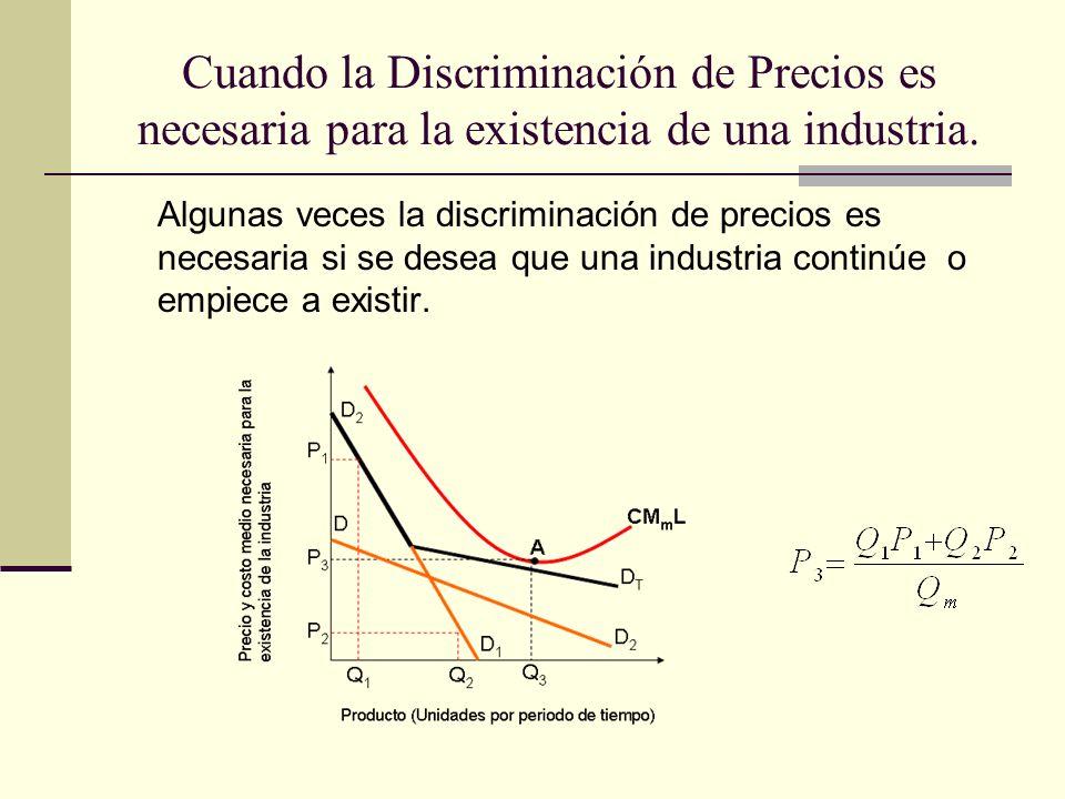 Cuando la Discriminación de Precios es necesaria para la existencia de una industria. Algunas veces la discriminación de precios es necesaria si se de
