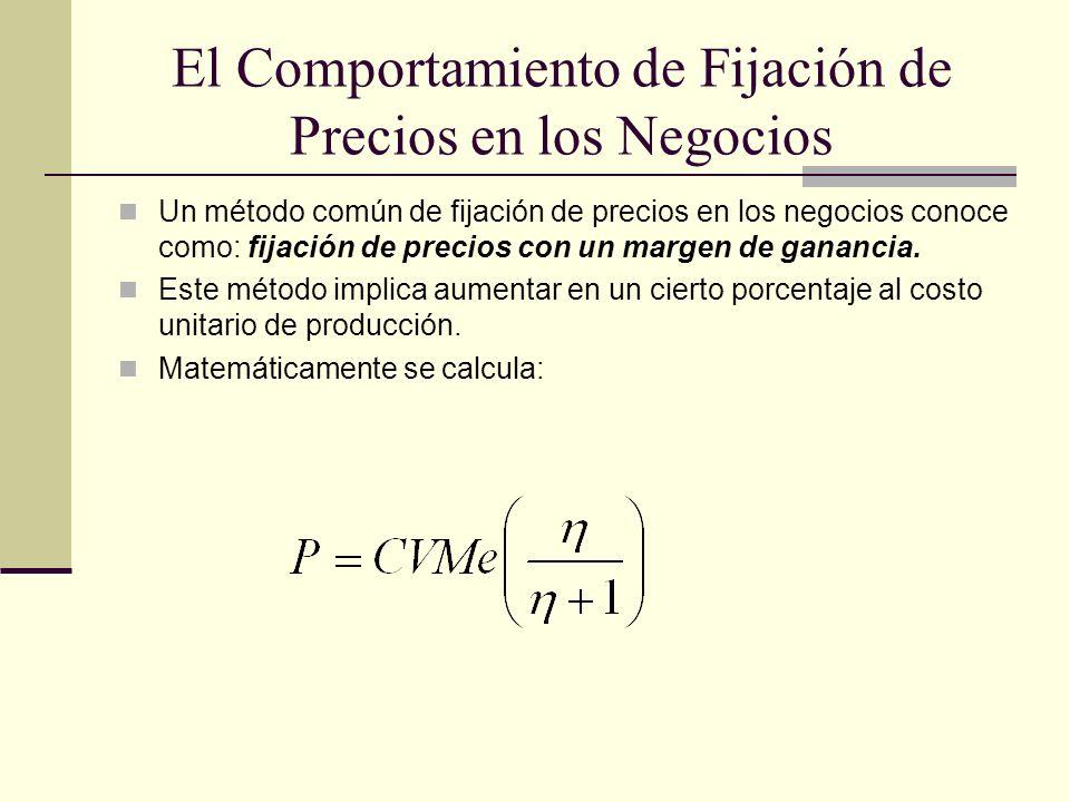 El Comportamiento de Fijación de Precios en los Negocios Un método común de fijación de precios en los negocios conoce como: fijación de precios con u
