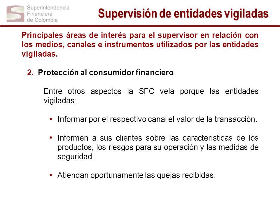 Principales áreas de interés para el supervisor en relación con los medios, canales e instrumentos utilizados por las entidades vigiladas. 2.Protecció