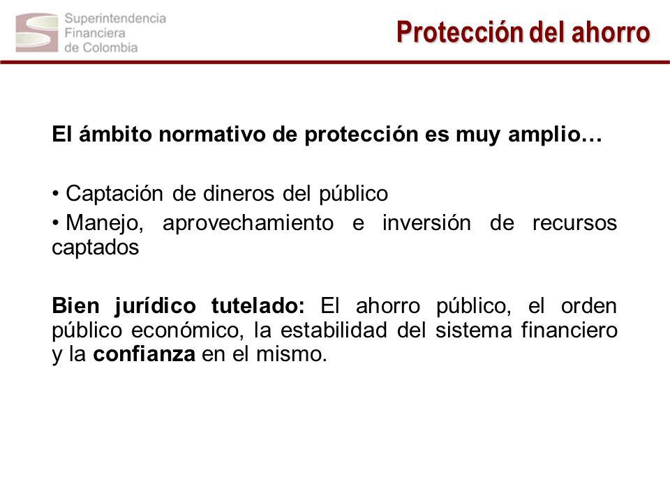 El ámbito normativo de protección es muy amplio… Captación de dineros del público Manejo, aprovechamiento e inversión de recursos captados Bien jurídi