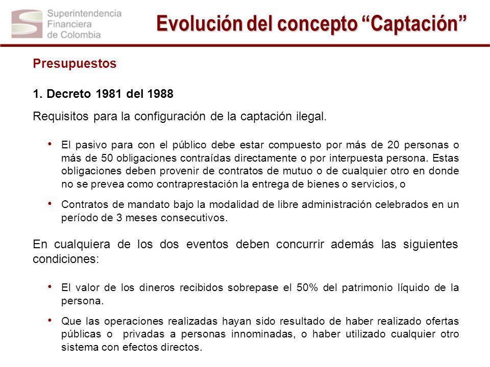 Presupuestos 1. Decreto 1981 del 1988 Requisitos para la configuración de la captación ilegal. El pasivo para con el público debe estar compuesto por