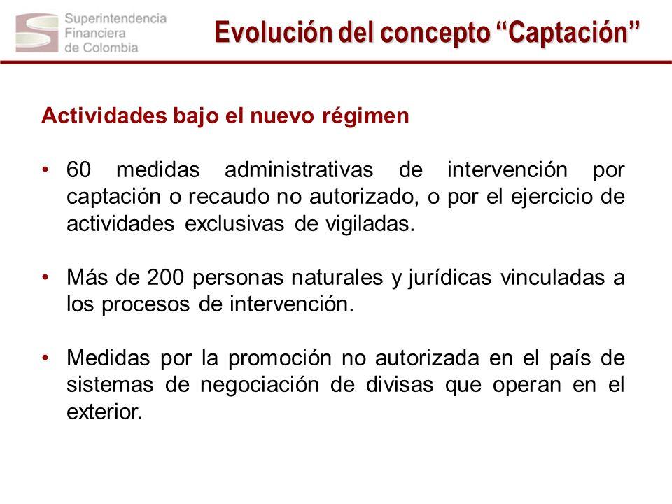 Actividades bajo el nuevo régimen 60 medidas administrativas de intervención por captación o recaudo no autorizado, o por el ejercicio de actividades