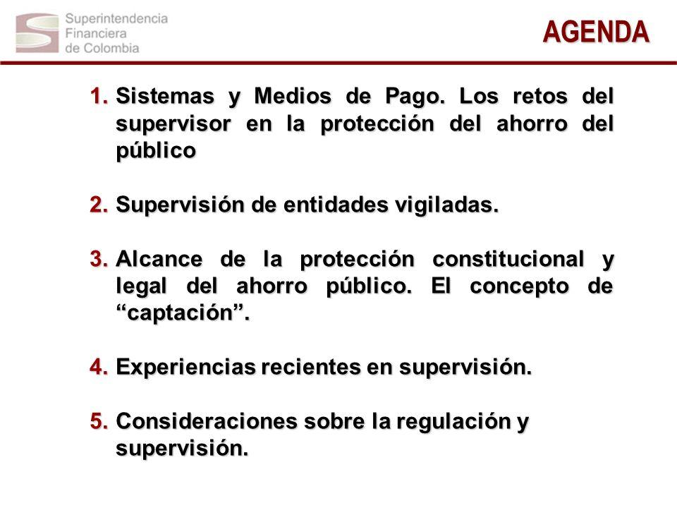 1.Sistemas y Medios de Pago. Los retos del supervisor en la protección del ahorro del público 2.Supervisión de entidades vigiladas. 3.Alcance de la pr
