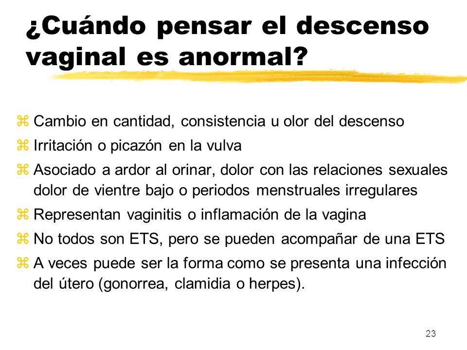 23 ¿Cuándo pensar el descenso vaginal es anormal? zCambio en cantidad, consistencia u olor del descenso zIrritación o picazón en la vulva zAsociado a