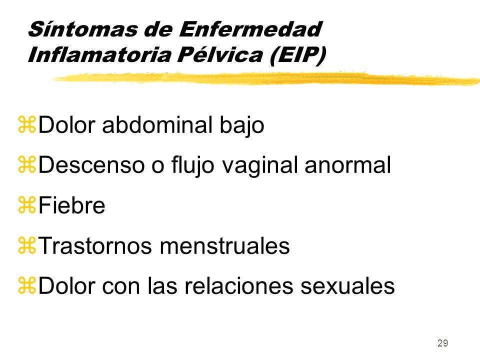 29 Síntomas de Enfermedad Inflamatoria Pélvica (EIP) zDolor abdominal bajo zDescenso o flujo vaginal anormal zFiebre zTrastornos menstruales zDolor co