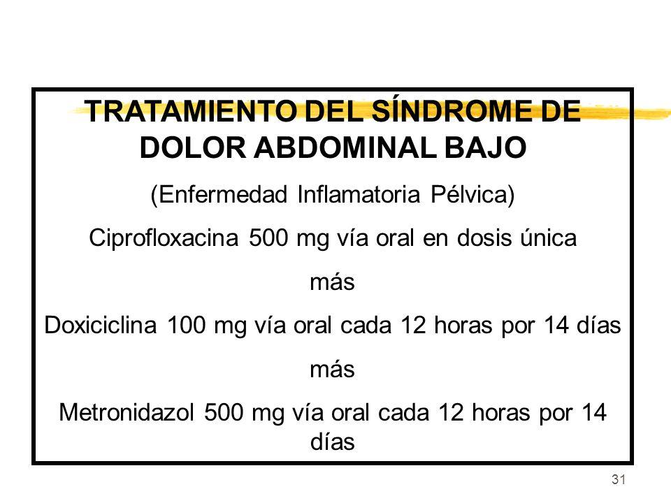 31 TRATAMIENTO DEL SÍNDROME DE DOLOR ABDOMINAL BAJO (Enfermedad Inflamatoria Pélvica) Ciprofloxacina 500 mg vía oral en dosis única más Doxiciclina 10