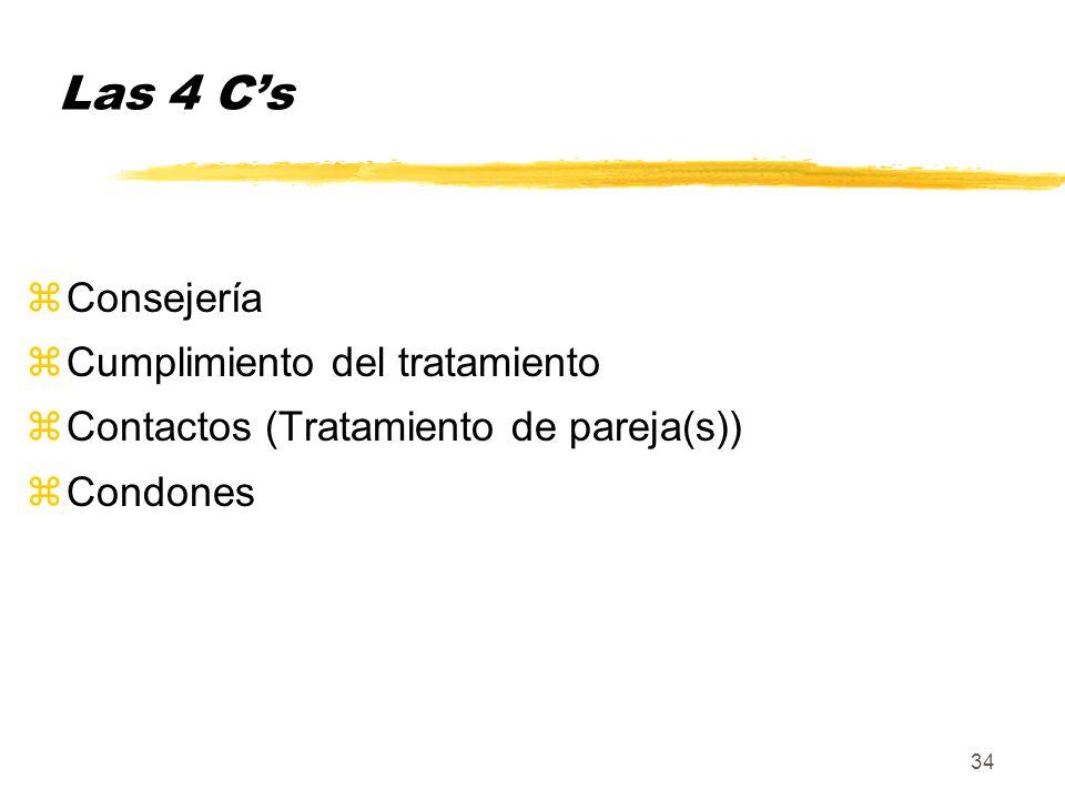34 Las 4 Cs zConsejería zCumplimiento del tratamiento zContactos (Tratamiento de pareja(s)) zCondones