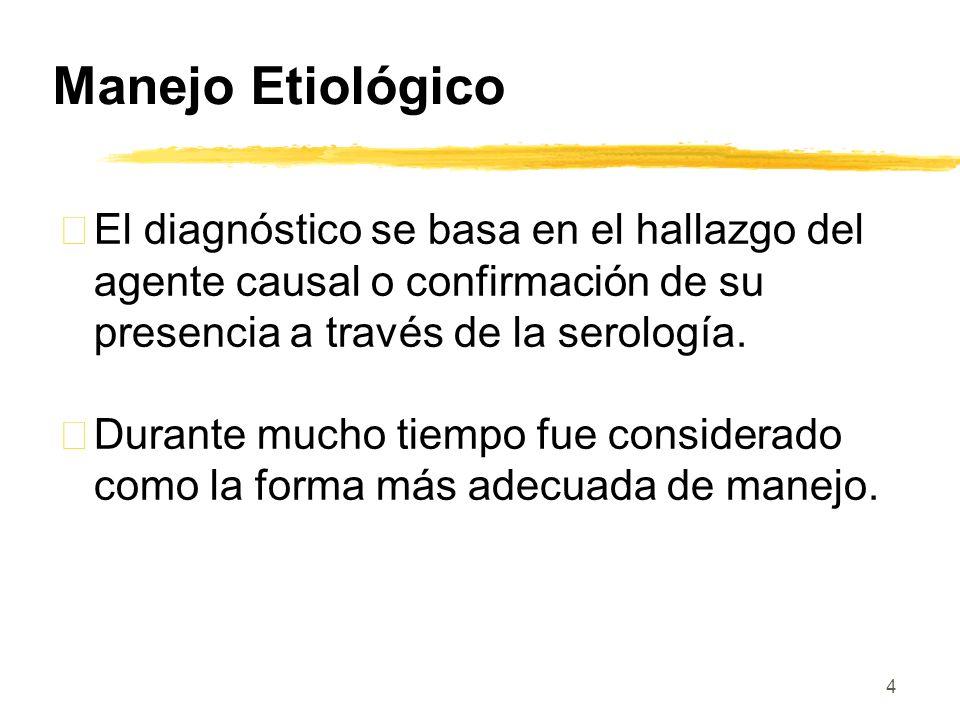 4 Manejo Etiológico • El diagnóstico se basa en el hallazgo del agente causal o confirmación de su presencia a través de la serología. • Durante mucho