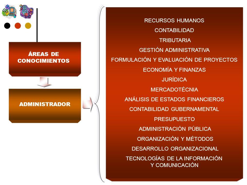 ADMINISTRADOR RECURSOS HUMANOS CONTABILIDAD TRIBUTARIA GESTIÓN ADMINISTRATIVA FORMULACIÓN Y EVALUACIÓN DE PROYECTOS ECONOMÍA Y FINANZAS JURÍDICA MERCADOTÉCNIA ANÁLISIS DE ESTADOS FINANCIEROS CONTABILIDAD GUBERNAMENTAL PRESUPUESTO ADMINISTRACIÓN PÚBLICA ORGANIZACIÓN Y MÉTODOS DESARROLLO ORGANIZACIONAL TECNOLOGÍAS DE LA INFORMACIÓN Y COMUNICACIÓN ÁREAS DE CONOCIMIENTOS