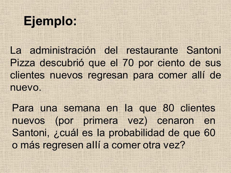 Ejemplo: La administración del restaurante Santoni Pizza descubrió que el 70 por ciento de sus clientes nuevos regresan para comer allí de nuevo. Para