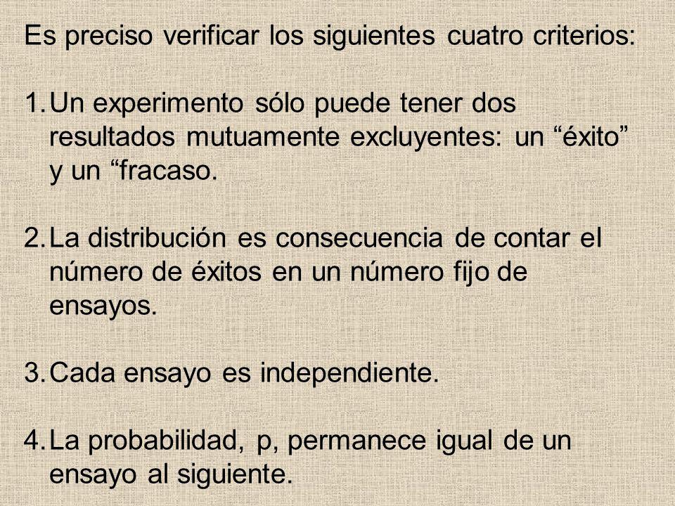 Es preciso verificar los siguientes cuatro criterios: 1.Un experimento sólo puede tener dos resultados mutuamente excluyentes: un éxito y un fracaso.
