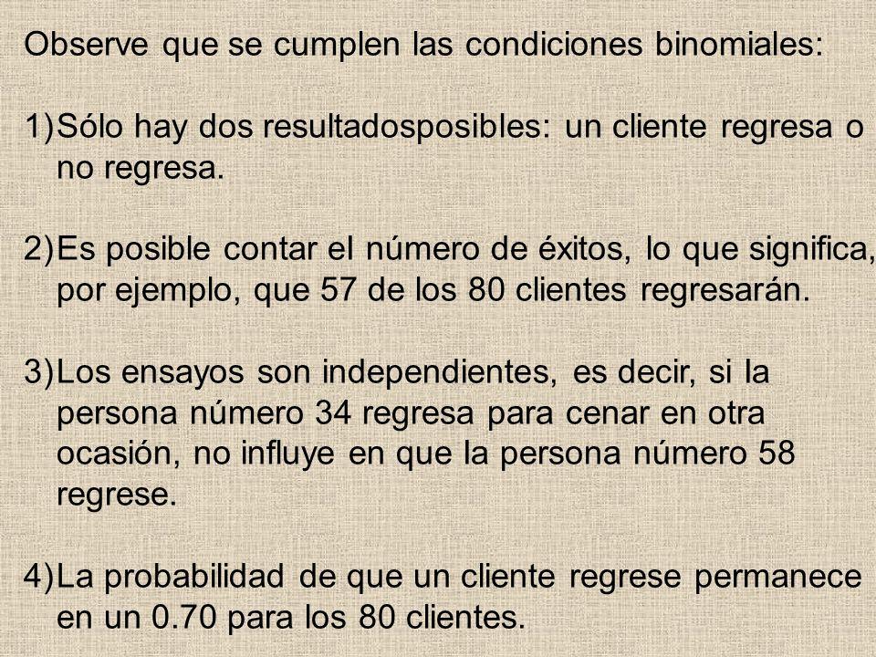 Observe que se cumplen las condiciones binomiales: 1)Sólo hay dos resultadosposibles: un cliente regresa o no regresa. 2)Es posible contar eI número d