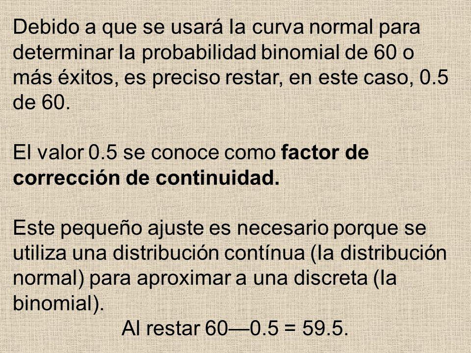 Debido a que se usará Ia curva normal para determinar Ia probabilidad binomial de 60 o más éxitos, es preciso restar, en este caso, 0.5 de 60. El valo