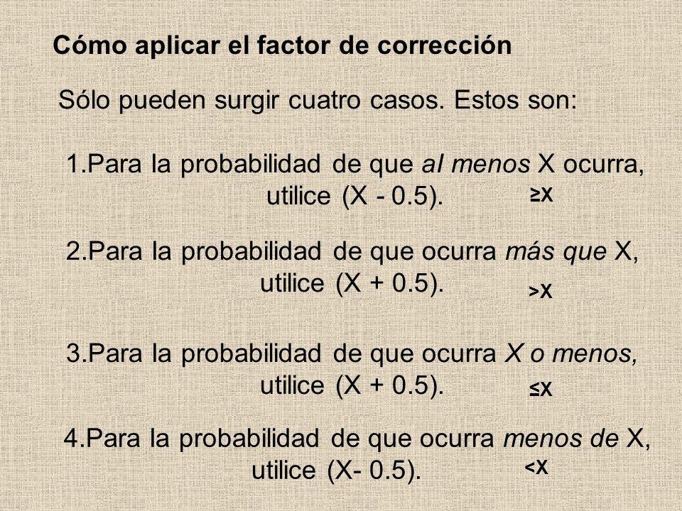 3.Para Ia probabilidad de que ocurra X o menos, utilice (X + 0.5). Cómo aplicar el factor de corrección <X<X X X >X 2.Para Ia probabilidad de que ocur