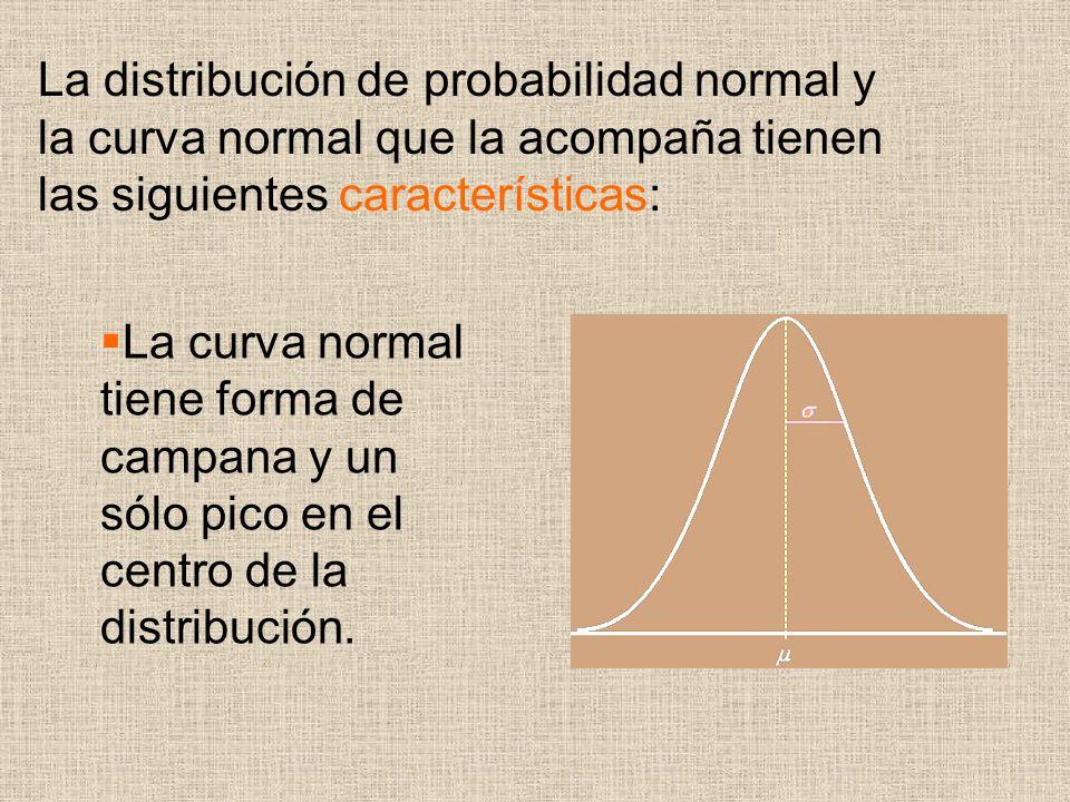 La curva normal tiene forma de campana y un sólo pico en el centro de la distribución. La distribución de probabilidad normal y la curva normal que la