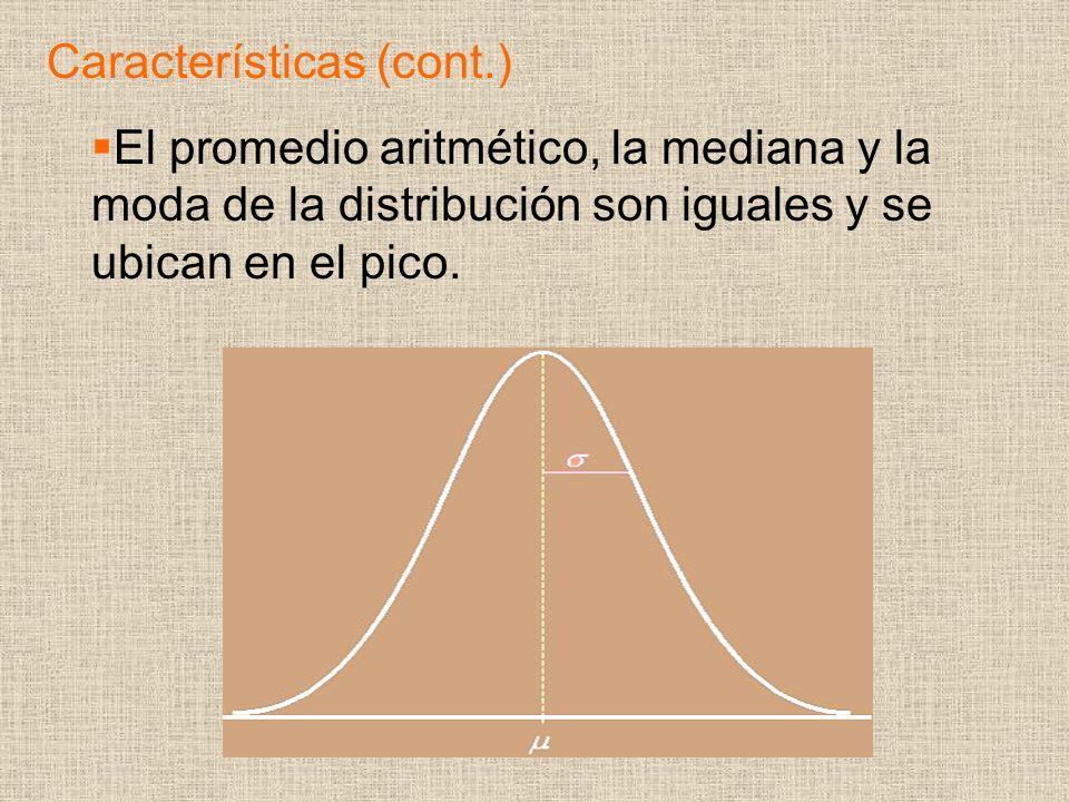 El promedio aritmético, la mediana y la moda de la distribución son iguales y se ubican en el pico. Características (cont.)