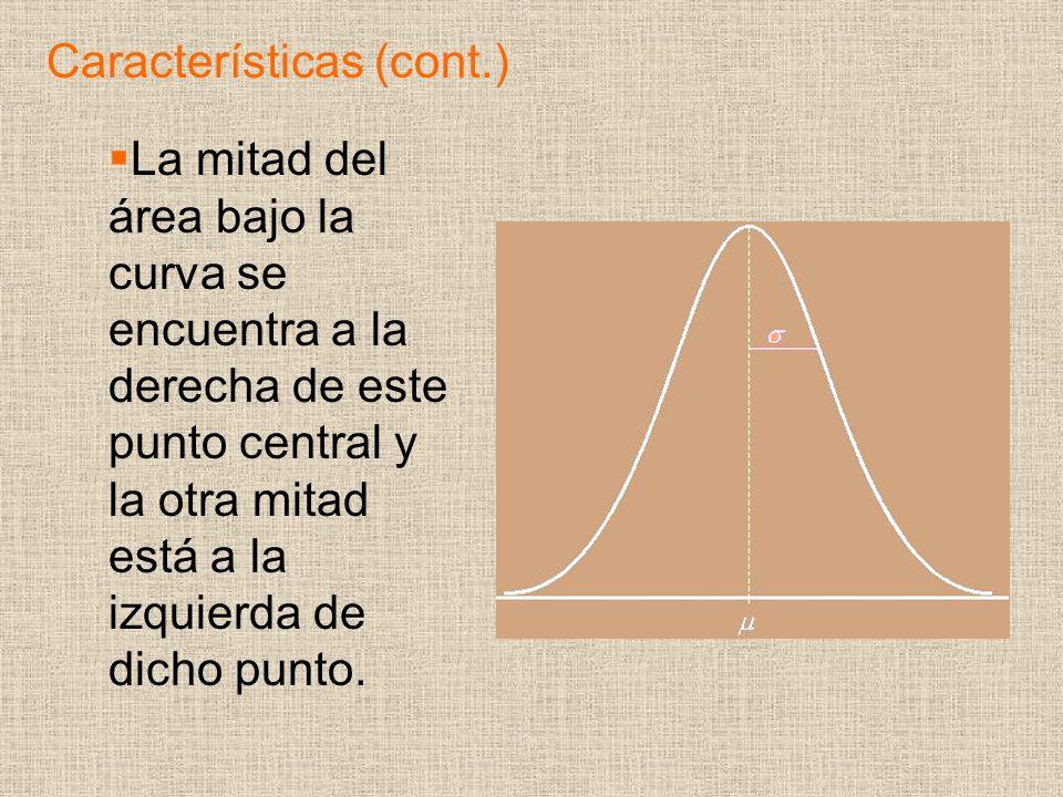 La mitad del área bajo la curva se encuentra a la derecha de este punto central y la otra mitad está a la izquierda de dicho punto.