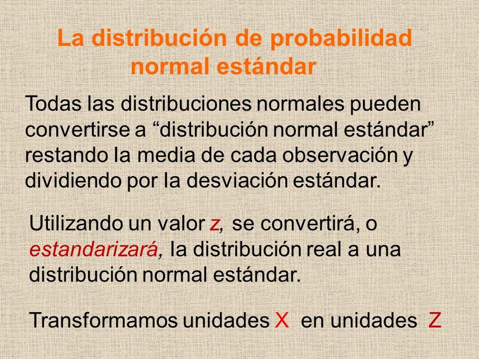 La distribución de probabilidad normal estándar Utilizando un valor z, se convertirá, o estandarizará, Ia distribución real a una distribución normal