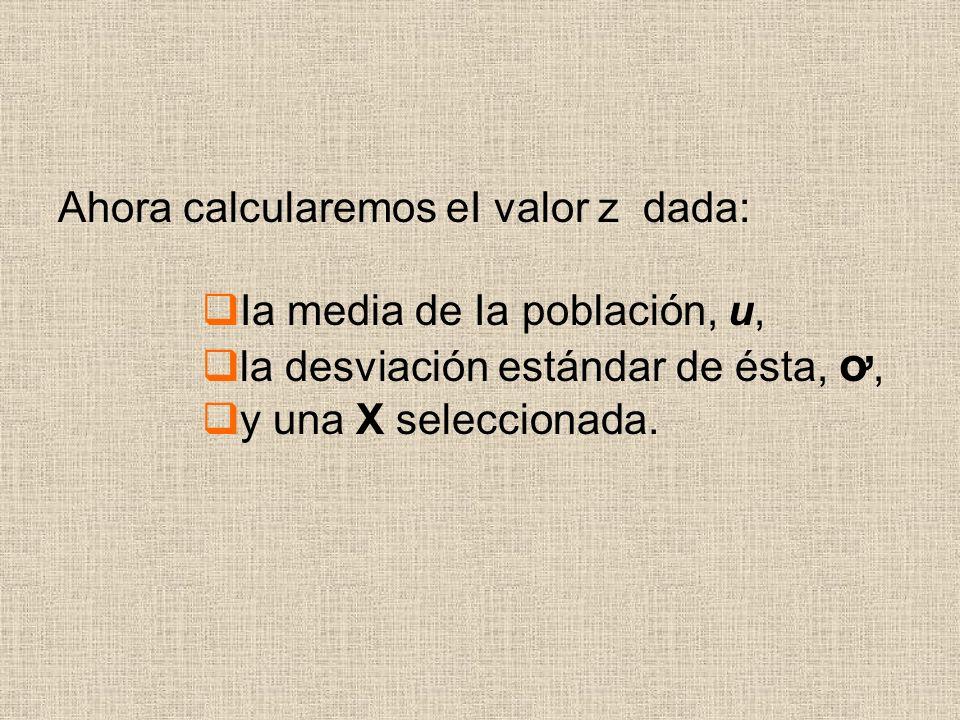 Ahora calcularemos eI valor z dada: Ia media de Ia población, u, la desviación estándar de ésta, ơ, y una X seleccionada.