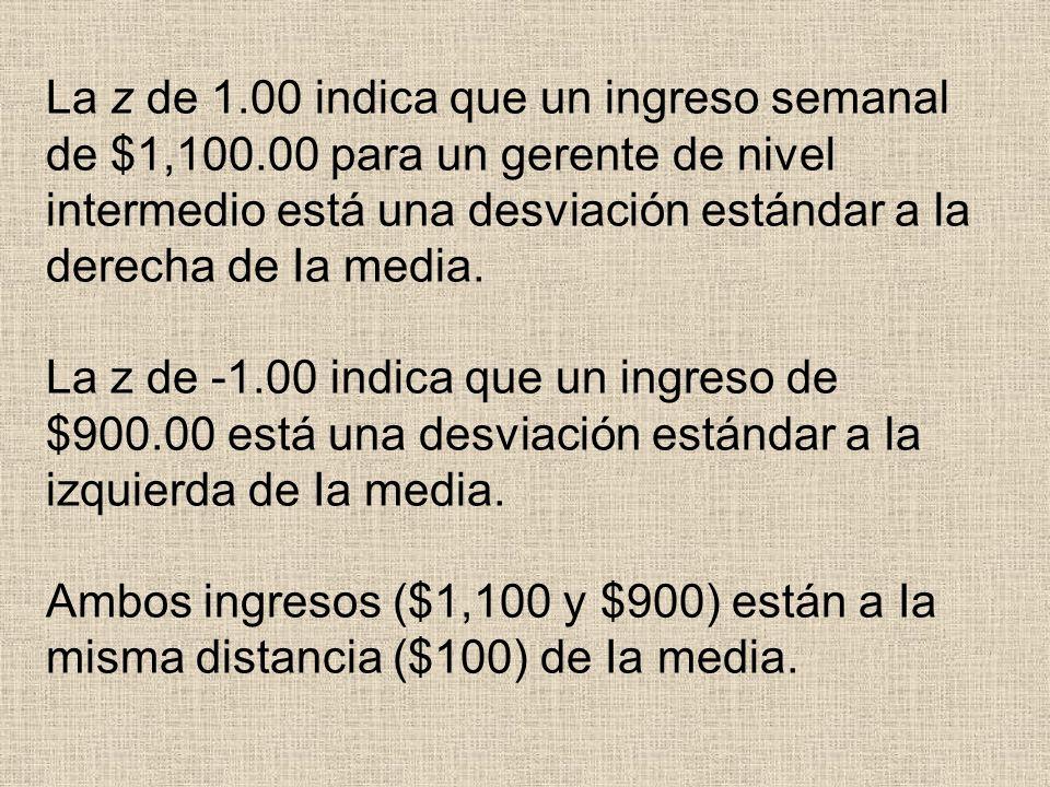 La z de 1.00 indica que un ingreso semanal de $1,100.00 para un gerente de nivel intermedio está una desviación estándar a la derecha de Ia media. La