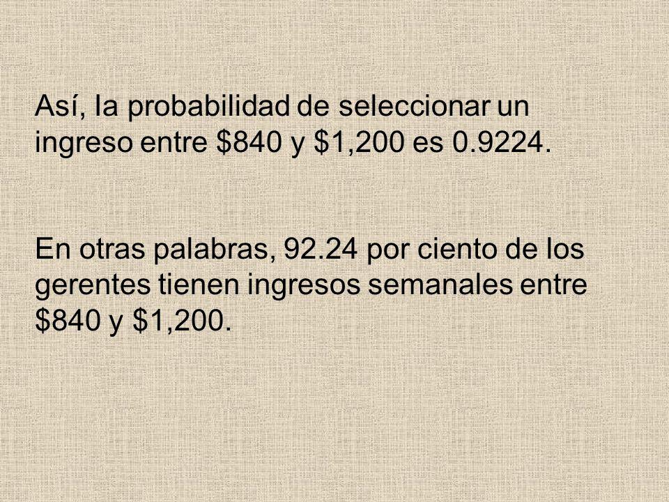 Así, Ia probabilidad de seleccionar un ingreso entre $840 y $1,200 es 0.9224. En otras palabras, 92.24 por ciento de los gerentes tienen ingresos sema