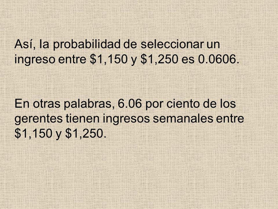 Así, Ia probabilidad de seleccionar un ingreso entre $1,150 y $1,250 es 0.0606. En otras palabras, 6.06 por ciento de los gerentes tienen ingresos sem