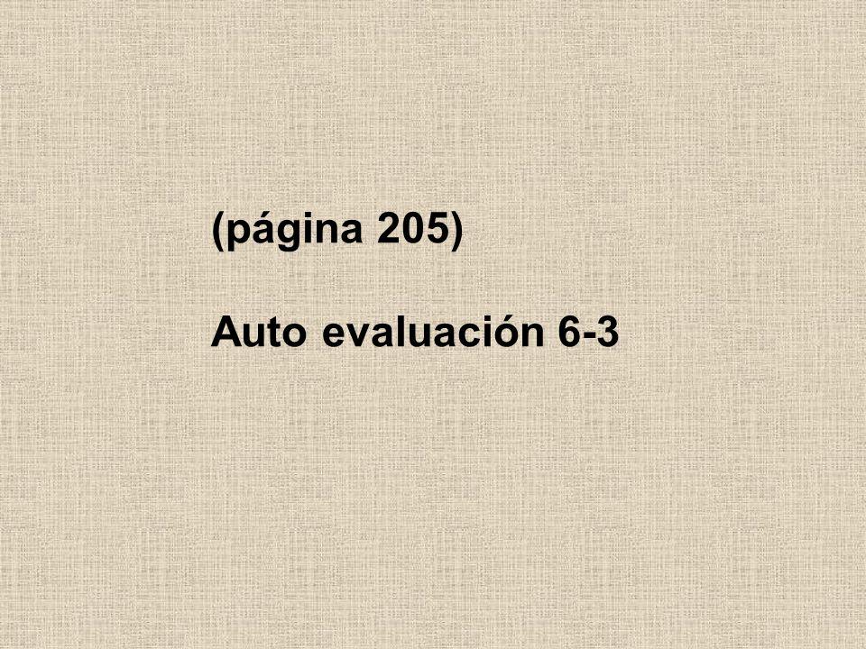 (página 205) Auto evaluación 6-3