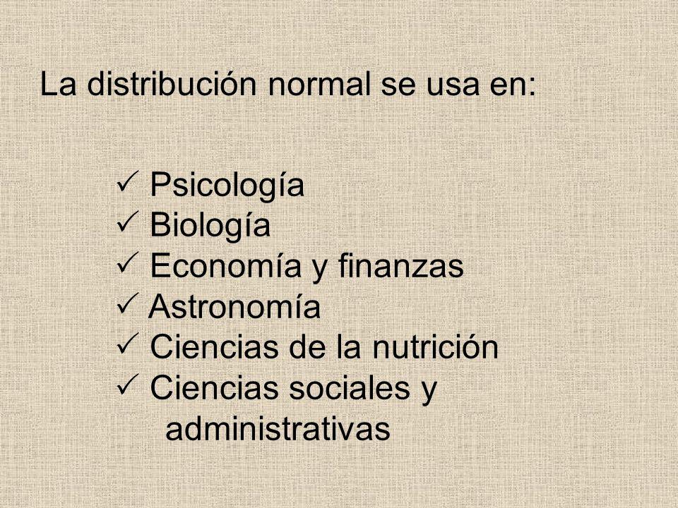 Psicología Biología Economía y finanzas Astronomía Ciencias de la nutrición Ciencias sociales y administrativas La distribución normal se usa en: