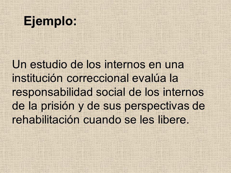 Un estudio de los internos en una institución correccional evalúa Ia responsabilidad social de los internos de Ia prisión y de sus perspectivas de reh