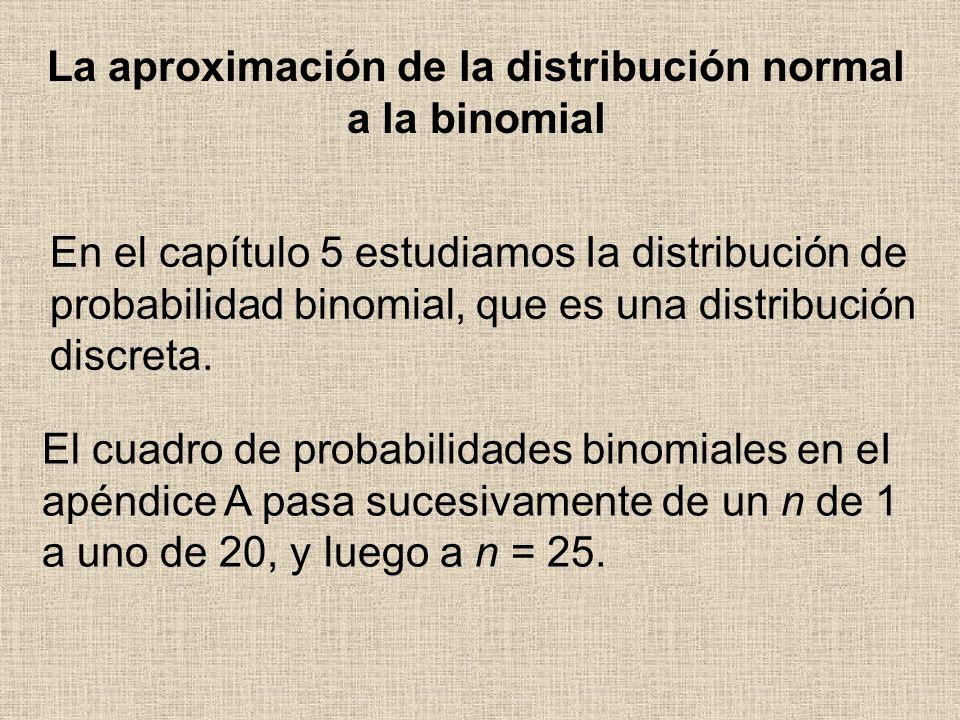 En el capítulo 5 estudiamos Ia distribución de probabilidad binomial, que es una distribución discreta. La aproximación de la distribución normal a la