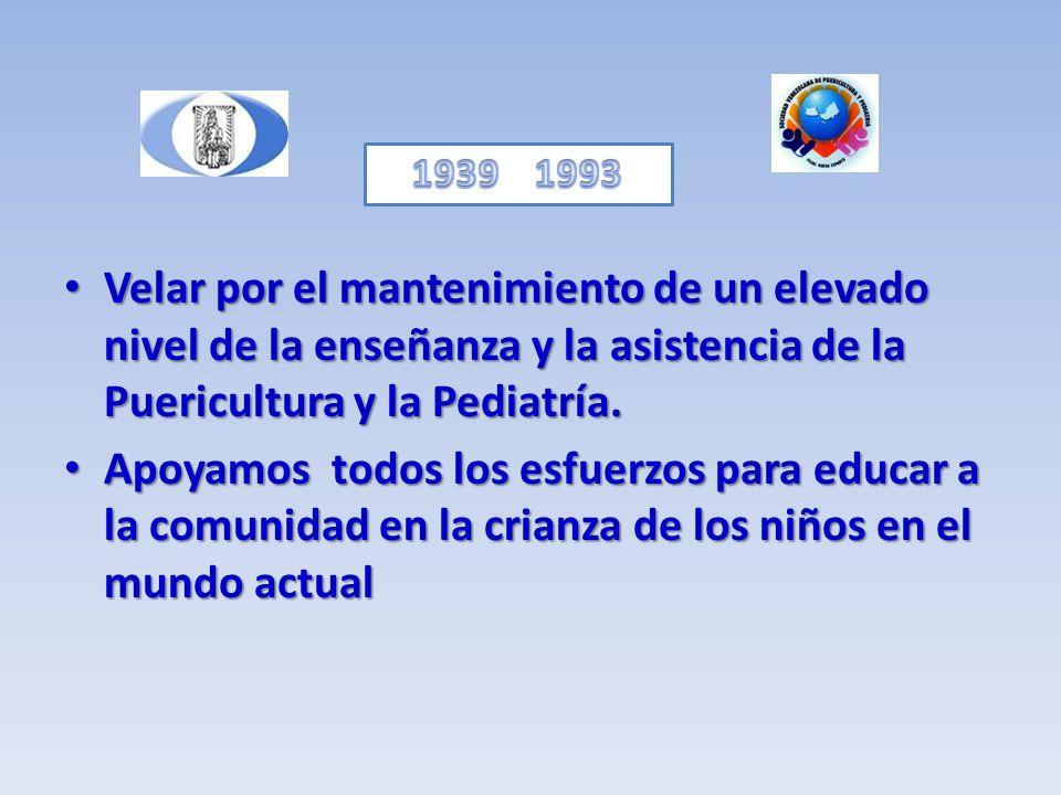 Velar por el mantenimiento de un elevado nivel de la enseñanza y la asistencia de la Puericultura y la Pediatría. Velar por el mantenimiento de un ele