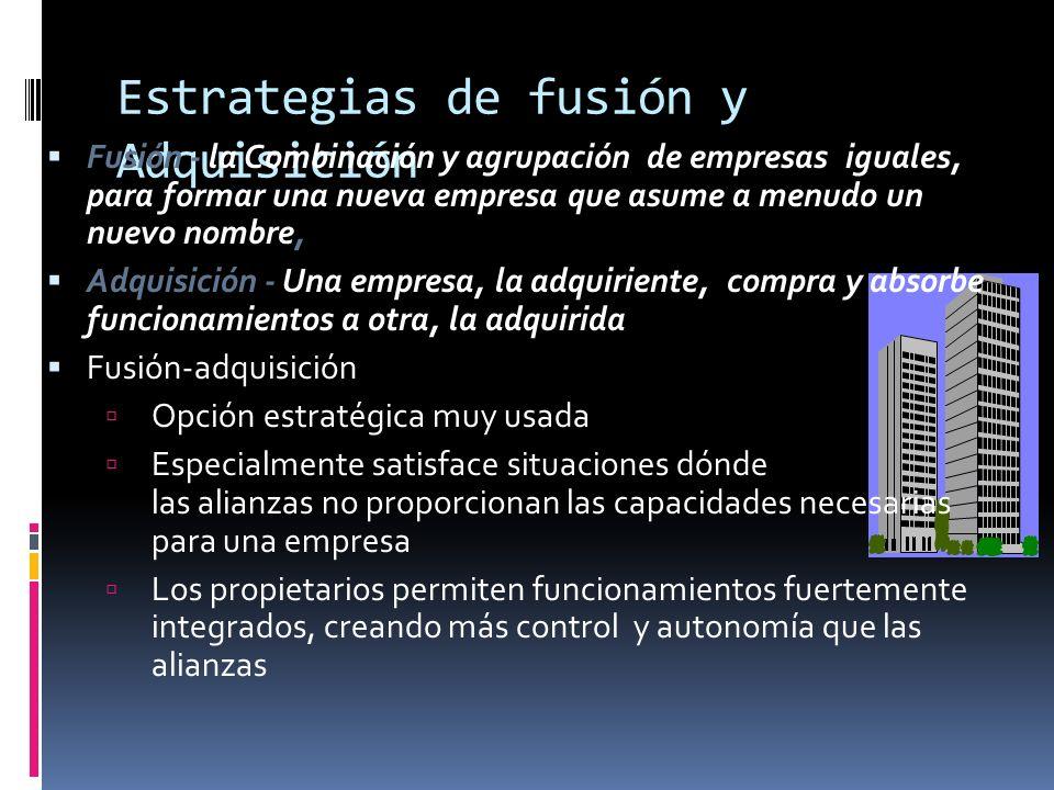 Estrategias de fusión y Adquisición Fusión - la Combinación y agrupación de empresas iguales, para formar una nueva empresa que asume a menudo un nuev