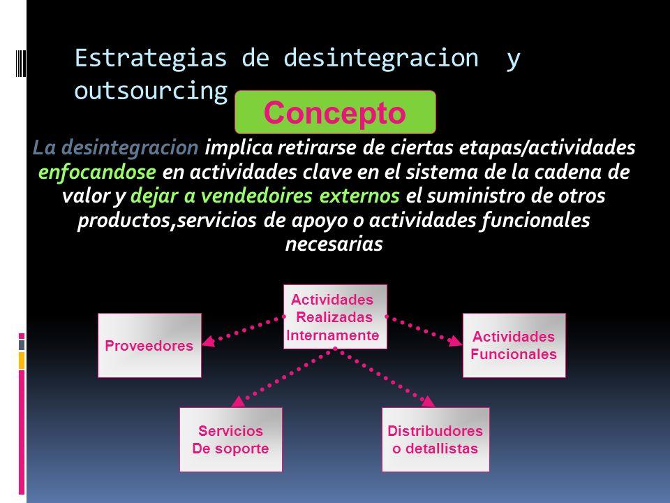 Estrategias de desintegracion y outsourcing La desintegracion implica retirarse de ciertas etapas/actividades enfocandose en actividades clave en el s