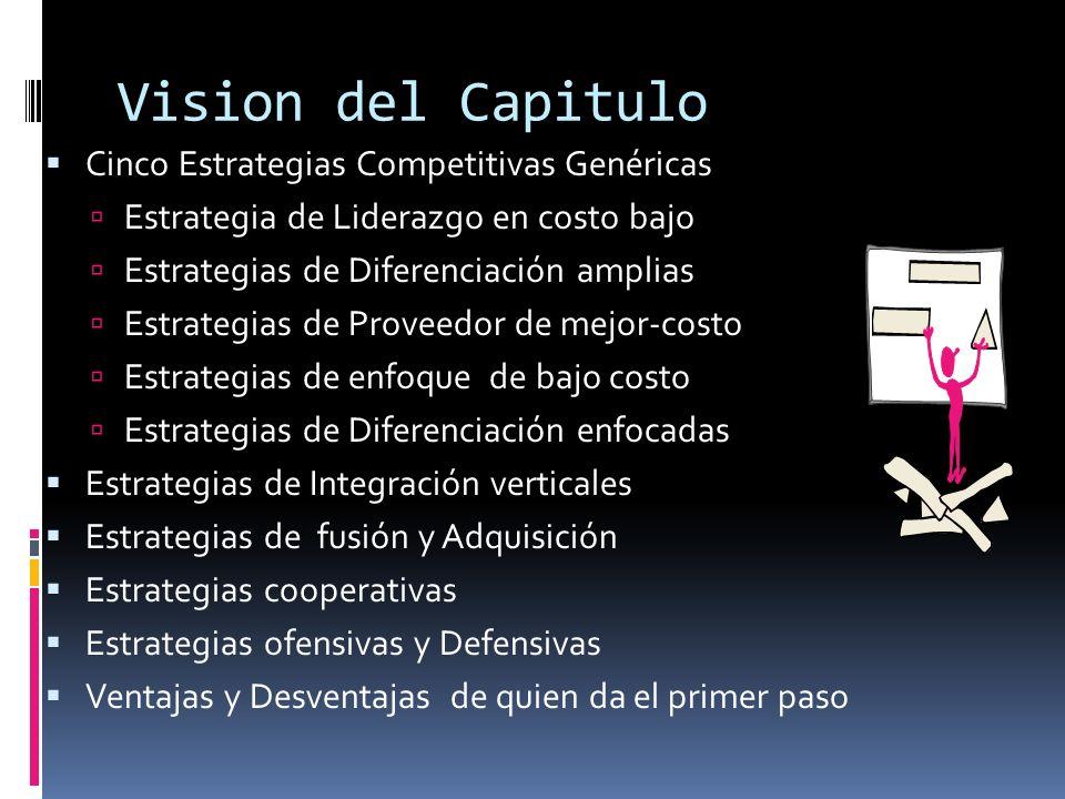 Vision del Capitulo Cinco Estrategias Competitivas Genéricas Estrategia de Liderazgo en costo bajo Estrategias de Diferenciación amplias Estrategias d