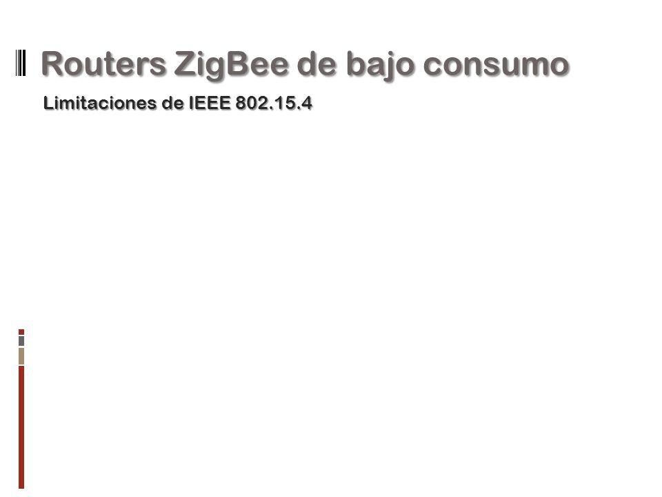 Routers ZigBee de bajo consumo Limitaciones de IEEE 802.15.4
