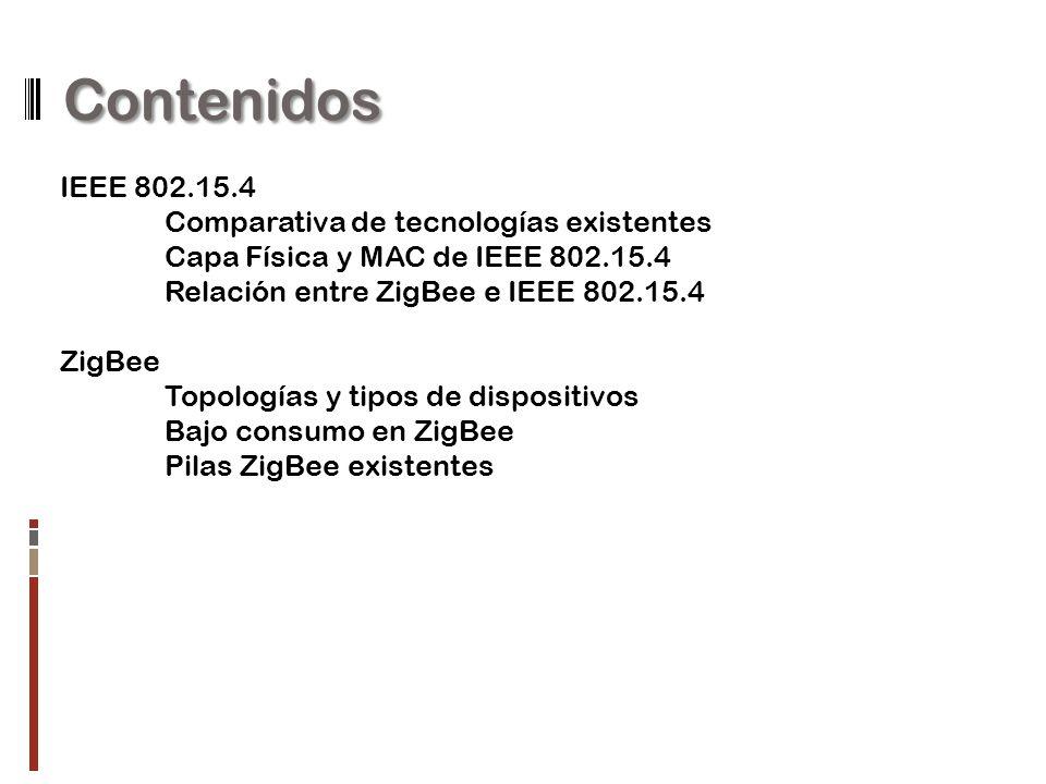 Contenidos IEEE 802.15.4 Comparativa de tecnologías existentes Capa Física y MAC de IEEE 802.15.4 Relación entre ZigBee e IEEE 802.15.4 ZigBee Topolog