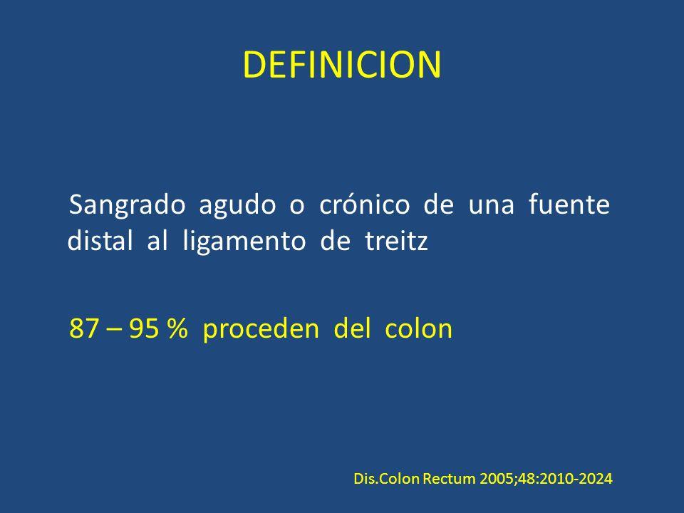 DEFINICION Sangrado agudo o crónico de una fuente distal al ligamento de treitz 87 – 95 % proceden del colon Dis.Colon Rectum 2005;48:2010-2024
