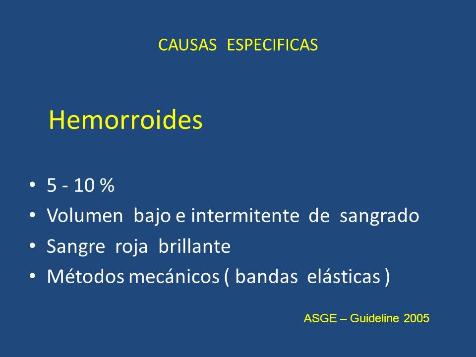 CAUSAS ESPECIFICAS Hemorroides 5 - 10 % Volumen bajo e intermitente de sangrado Sangre roja brillante Métodos mecánicos ( bandas elásticas ) ASGE – Guideline 2005