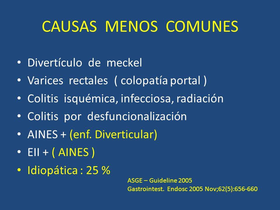 CAUSAS MENOS COMUNES Divertículo de meckel Varices rectales ( colopatía portal ) Colitis isquémica, infecciosa, radiación Colitis por desfuncionalización AINES + (enf.