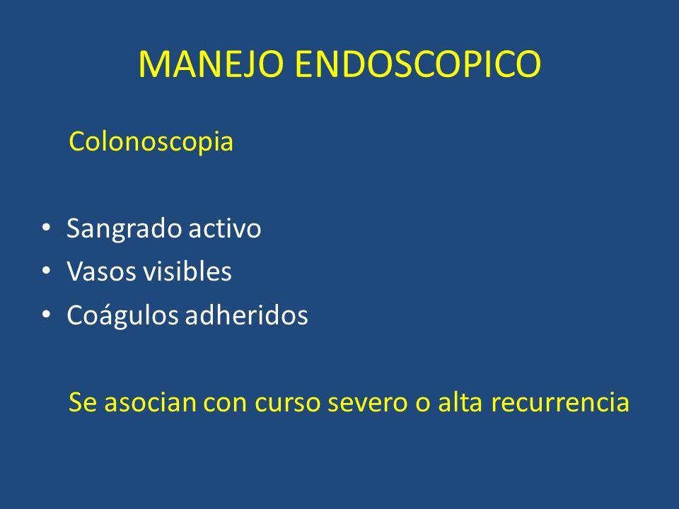 MANEJO ENDOSCOPICO Colonoscopia Sangrado activo Vasos visibles Coágulos adheridos Se asocian con curso severo o alta recurrencia