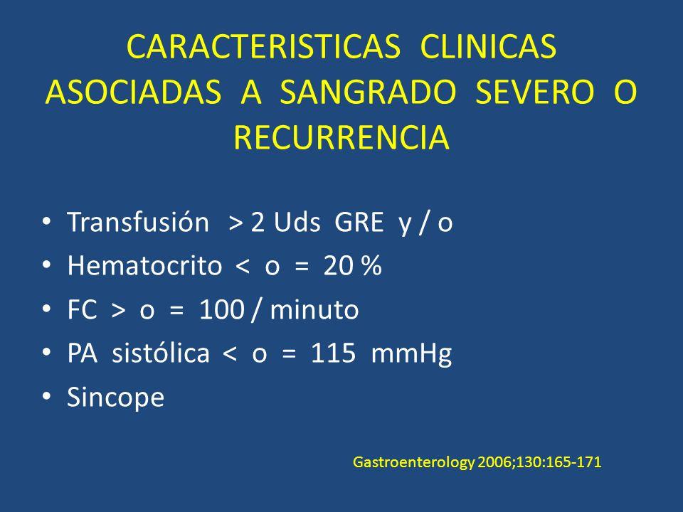 CARACTERISTICAS CLINICAS ASOCIADAS A SANGRADO SEVERO O RECURRENCIA Transfusión > 2 Uds GRE y / o Hematocrito < o = 20 % FC > o = 100 / minuto PA sistólica < o = 115 mmHg Sincope Gastroenterology 2006;130:165-171
