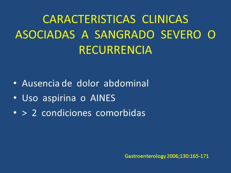 CARACTERISTICAS CLINICAS ASOCIADAS A SANGRADO SEVERO O RECURRENCIA Ausencia de dolor abdominal Uso aspirina o AINES > 2 condiciones comorbidas Gastroenterology 2006;130:165-171