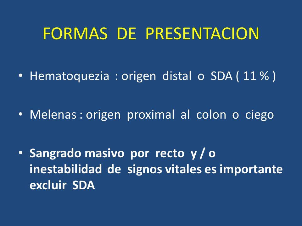 FORMAS DE PRESENTACION Hematoquezia : origen distal o SDA ( 11 % ) Melenas : origen proximal al colon o ciego Sangrado masivo por recto y / o inestabilidad de signos vitales es importante excluir SDA
