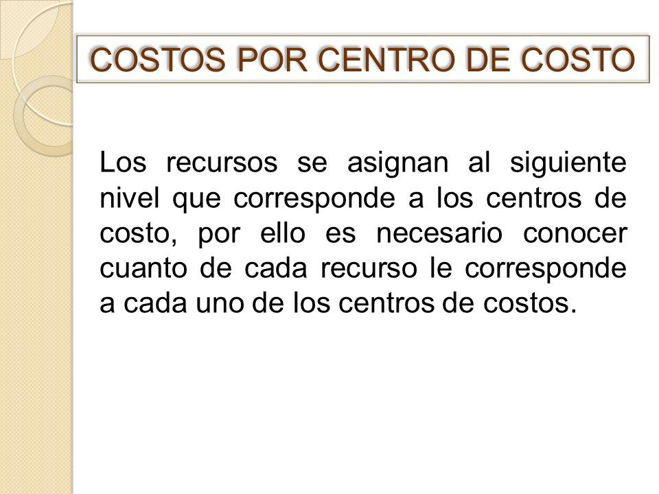 Los recursos se asignan al siguiente nivel que corresponde a los centros de costo, por ello es necesario conocer cuanto de cada recurso le corresponde
