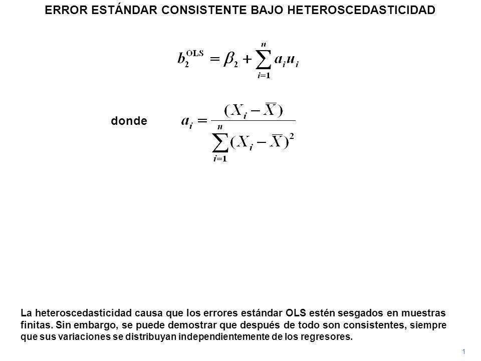 ERROR ESTÁNDAR CONSISTENTE BAJO HETEROSCEDASTICIDAD 1 La heteroscedasticidad causa que los errores estándar OLS estén sesgados en muestras finitas. Si