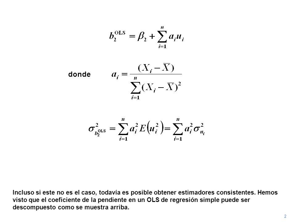 3 También hemos visto que la varianza del estimador está dada por la expresión de arriba si u i está distribuida independientemente de u j para j i.
