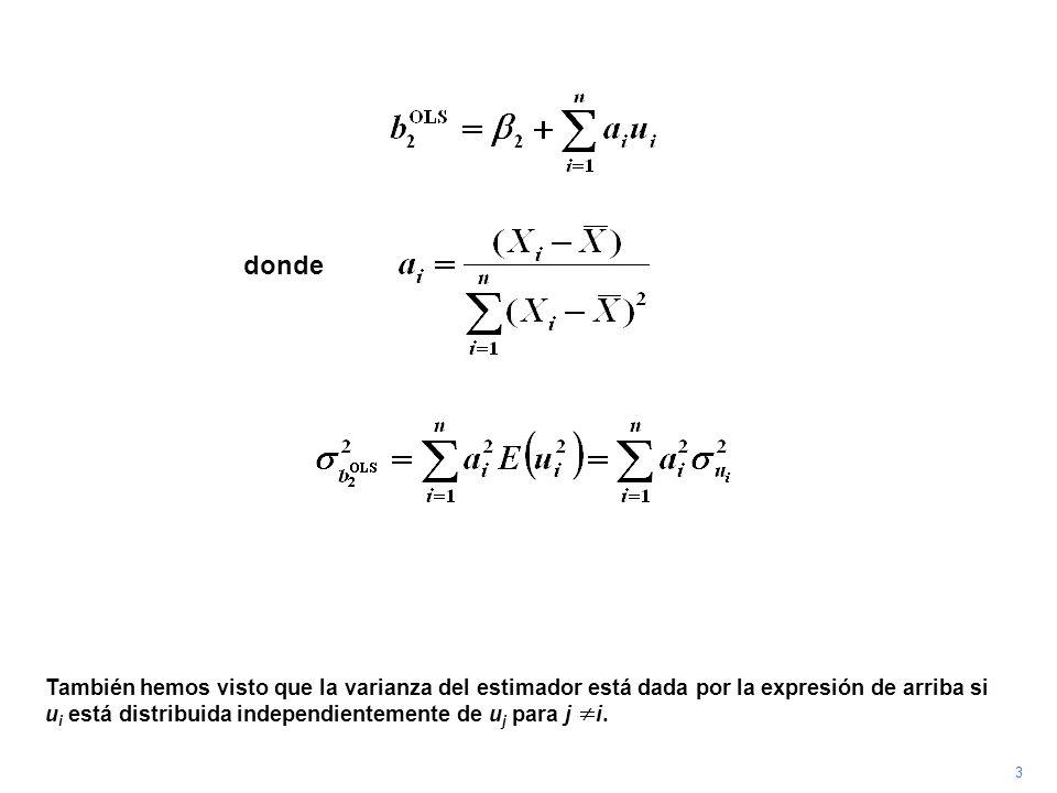 4 White (1980) demuestra que un coeficiente consistente de se obtiene si el cuadrado del residual en observación i es utilizado como estimador de.